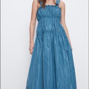 Zara Taffeta Tie Maxi Dress SS2020 Blue XS NEW